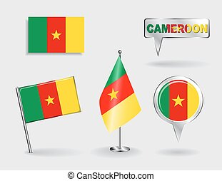 Set of Cameroon pin, icon and map pointer flags. Vector