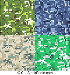 Set of camouflage military background in pixel style. ...