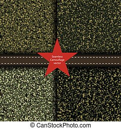 Set of camouflage seamless background. Vector military texture. Abstract army and hunting masking ornament.