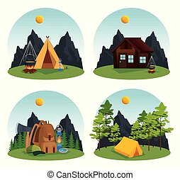 set of camp and cabin with nature trees and mountains