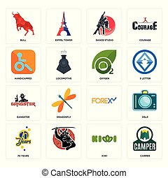 Set of camper, kiwi, 70 years, , gangster, oxygen, handicapped, dance studio, bull icons