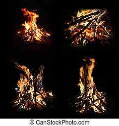 Set of campfire photographs