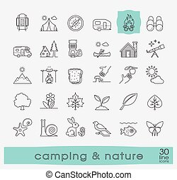 Set of camping and nature icons.