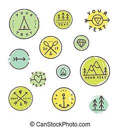 Set of camping badges.