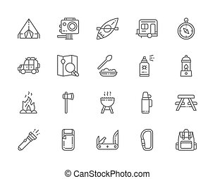 Set of Camping Line Icons. BBQ, Canoe, Trailer, Jackknife, Gas Lamp and more.