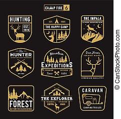 Set of camping outdoor and adventure gears badge logo, emblem logo, label design. Vector illustration