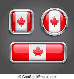 Canada  flag glass buttons