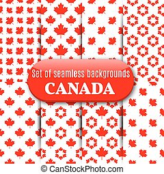 Set of Canadian seamless background, vector illustration. -...