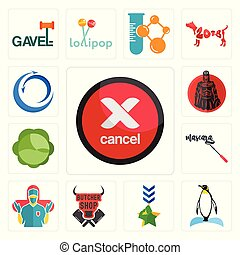 Set of cancel, penguin, military, butcher shop, surgeon, mascara, cabbage, spartan, import export icons