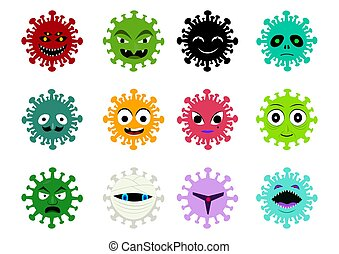Set of Cancer and virus icon in vector cartoon art
