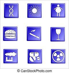 Set of Cancer icons, reasons od desease, vector illustration