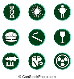 Set of Cancer icons, reasons od desease, vector illustration...