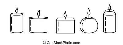 Set of candle icons on white background. Isolated aromatic candles whith flame. Vector illustration in flat style.