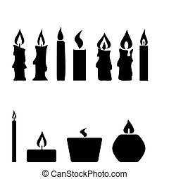 Set of candles isolated on white background, vector