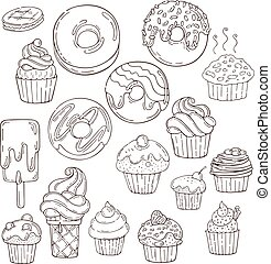 Set of Candy and Muffins Icons. Cakes, Sweets, Lollipops,...