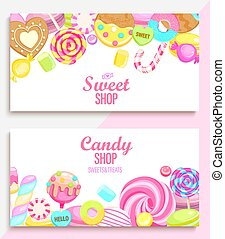 Set of candy and sweet shop banners with many sweets and place for text. Candy, macaroon, bonbon, lollypops, marshmallow, jellybean, candy cane, biscuit. Template for posters, menu, flyers. Vector.