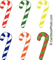 Set of candy cane on white
