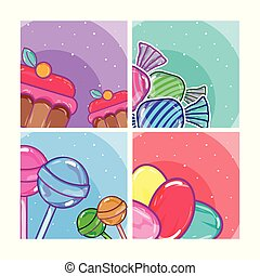 Set of candy frames