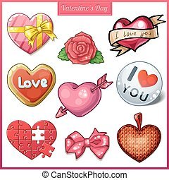Set of candy hearts icons for Valentine's Day