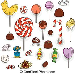 Set of Candy Icons. Glaze, caramel, candy, lollipops,...