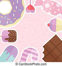 set of candys icons with a pink background