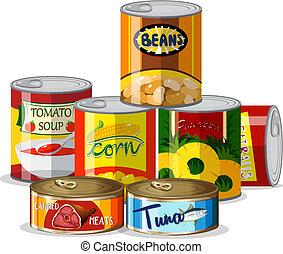 Set of canned food illustration