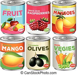 Set of canned food illustration