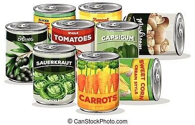 Set of canned vegetable illustration
