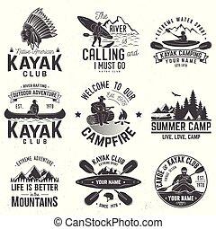 Set of canoe and kayak club badges. Vector illustration.