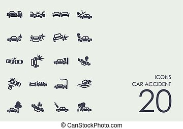 Set of car accident icons - car accident vector set of...