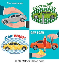 set of car business concepts