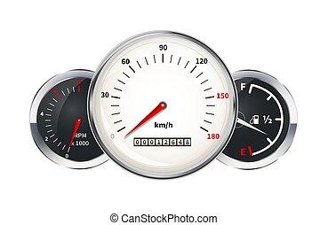 Set of car dashboard elements. Speedometer, tachometer, fuel level, indicators on white