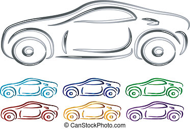 Set of Car design in 3D vector