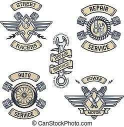 Set of car emblems, badges, symbols.