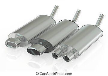 Set of Car Exhaust Pipes, 3D rendering