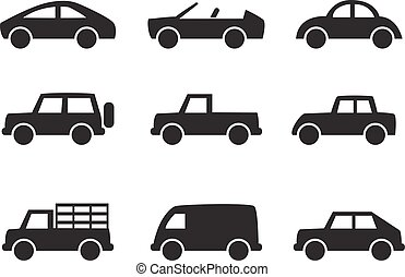 Set of car icons in simple style