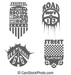 Set of car labels, emblems and design elements
