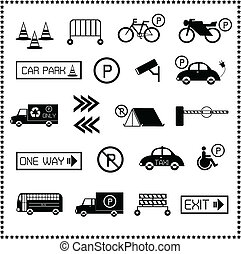 Set of car parking icons