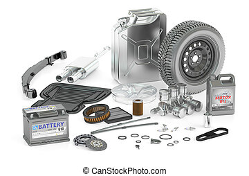 set of car parts, 3D rendering
