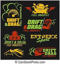 Set of car racing emblems and championship race vector badges