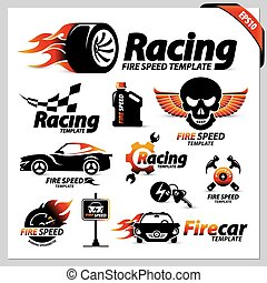 set of car racing logotipe symbols