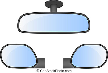 Set of car rear view mirrors on white background