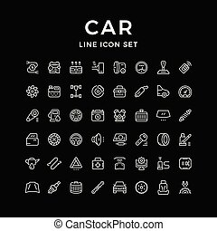 Set of car related line icons isolated on black. Vector...