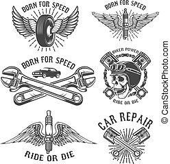 Set of car repair and racing emblems. Spark plug with wings, rac