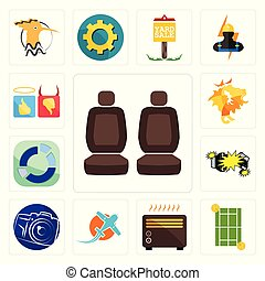 Set of car seat, tennis court, heater, prop plane, photography camera, crash, sector, de, good bad icons