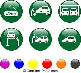 car service green icon shiny button