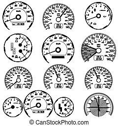 Set of car speedometers for racing design. vector illustration