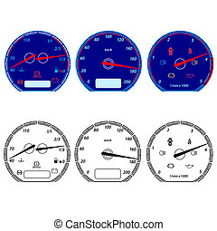 Set of car speedometers for racing design. vector...