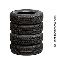 Set of car tires isolated