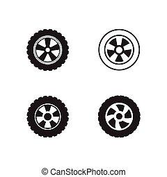 set of car wheel vector icon design